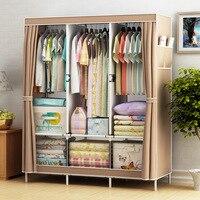 Simple Cabinet Storage Wardrobe Dust proof Wardrobe Steel Frame Reinforcement Combination Clothing Closet Bedroom Organizer
