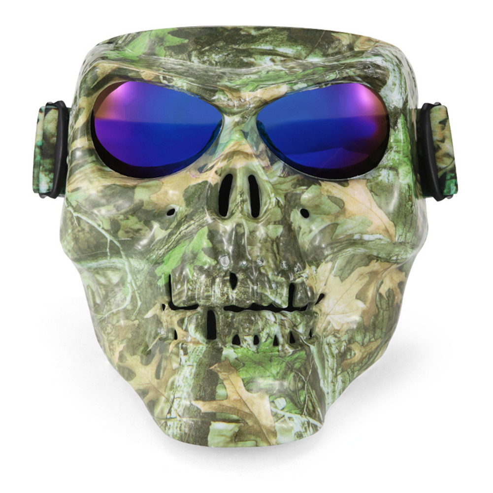 Monster Skull Motorcycle Mask Goggles Match Open Face Motorcycle Half Vintage Retro Helmets Outdoor Tactical War Game Face Mask
