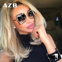 AZB Moda Oversized Sunglasses Mulheres Shades Espelho Quadrado de Metal  Óculos De Sol 2018 Da Marca Feminina Tamanho Grande Quad. 738e479dcc