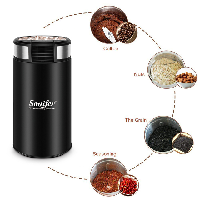 Mini Electric Coffee Grinder Maker Beans Mill Herbs Nuts Stainless Steel 220V Sonifer 3