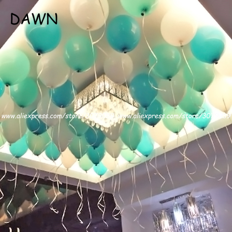 20pcs/lot 2.2g <font><b>10</b></font> inch Tiffany Blue White Color Latex Balloons Kid Toys Home/ <font><b>Birthday</b></font>/Wedding Party <font><b>Decoration</b></font> balloon image