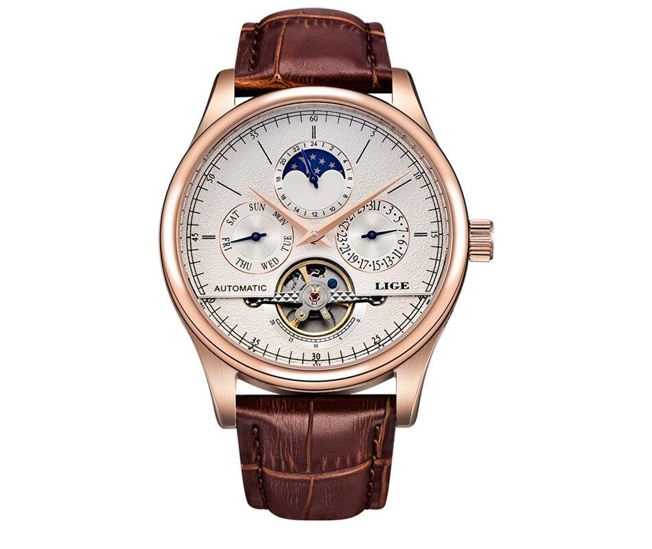 Reloj LIGE Men Watch Mechanical Tourbillon Luxury Fashion Brand Leather Male Sport Watches Men Automatic Watch Relogio Masculino