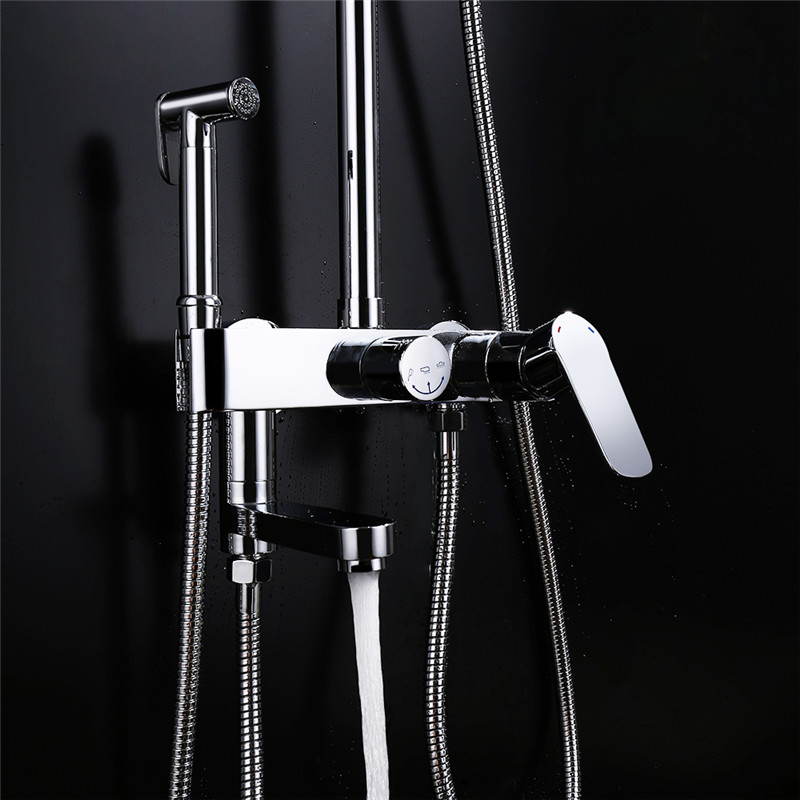 4 functions bathroom wall mounted shower set brass bath faucet 10 inch rain shower head with bidet sprayer faucet chrome plated