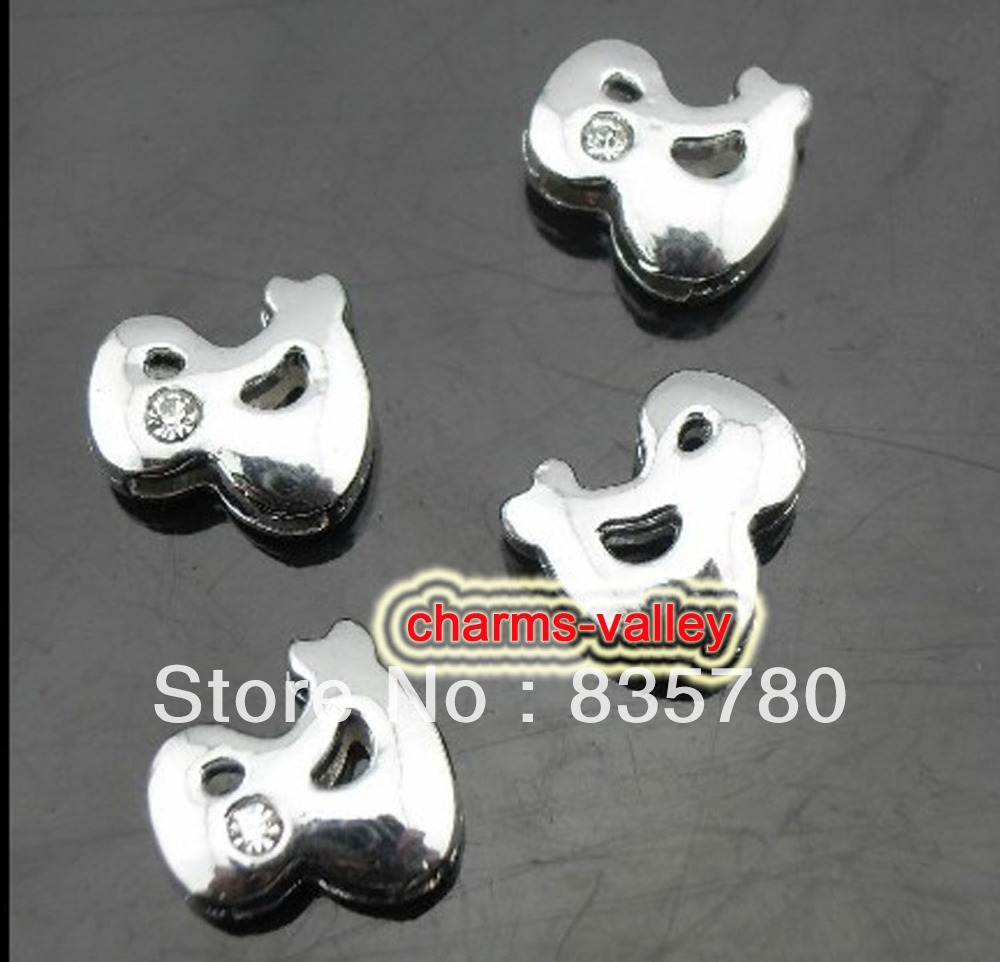 50PCS 8MM One Rhinestone & Sign Slide Charms