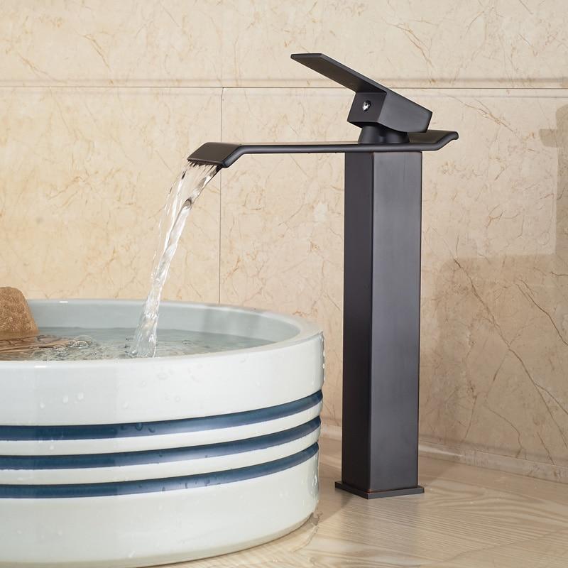 Modern Countertop Waterfall Bathroom Basin Sink Faucet Filler Oil Rubbed Bronze Mixer Taps modern countertop waterfall bathroom basin sink faucet filler oil rubbed bronze mixer taps