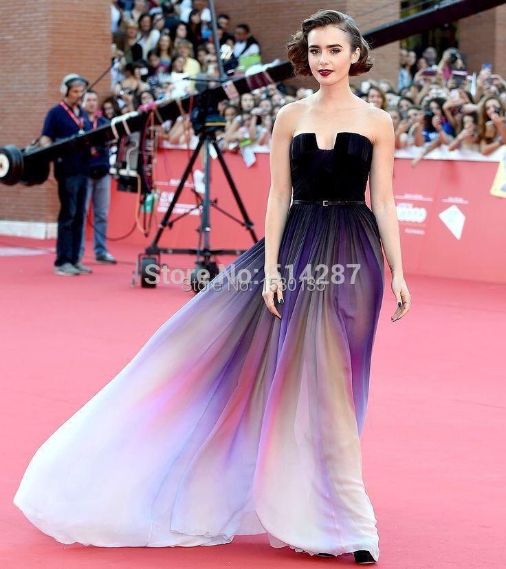 Vestidos de Novia Chiffon Celebrity Dress Strapless Gradient Ombre ...