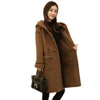 شتاء إمرأة طويل بطاقة اون الدافئة سميكة مقنعين معطف 2017 جديدة الخراف سترة فضفاضة الأزياء البني الإناث الصوف معطف WZ155