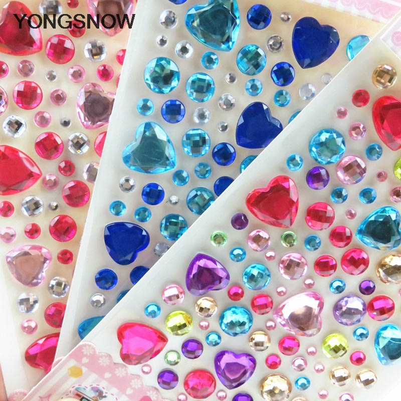 1Pcs Heart Rhinestone Crystal Stickers Mobile Phone/PC Decoration DIY Craft Scrapbooking Stickers Flatback Strass Nail Art Stone