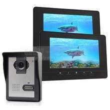 DIYSECUR 7inch Video Intercom Video Door Phone Doorbell 1 Camera 2 Monitors 800 x 480 Black