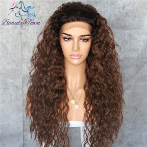 Image 4 - BeautyTown Kinky Curly Futura Heat Resistant Black Red 99j Hair Gift Daily Cosplay Makeup Synthetic Lace Front Party Women Wig