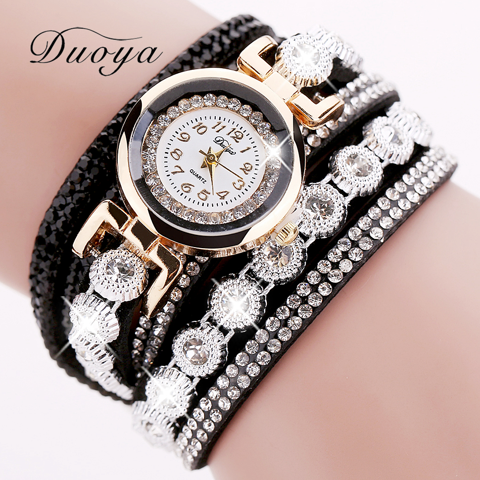 Duoya Brand Women Armband Lyx Armbandsur För Kvinnor Klocka 2018 Crystal Round Dial Klocka Gold Ladies Leather Clock Watch