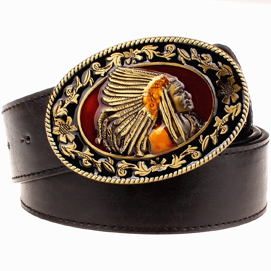 Fashion Wild Men Belts Metal Buckle Retro Big Head Belt Indian Chief Western Style Belt Hip Hop Street Dance Exaggerated Belt