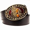 Moda salvaje hombres cinturón cinturones de hebilla de metal retro cabeza grande jefe indio estilo occidental cinturón de hip hop Street Dance exagerada cinturón