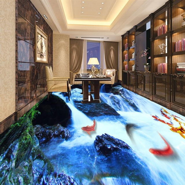 Free Shipping Flow Water 3D Landscape Flooring Painting Living Room Hotel  Bedroom Self Adhesive Floor