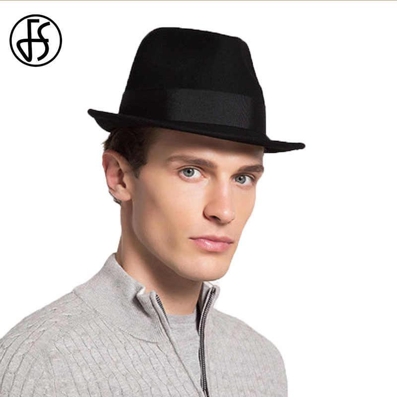 be847f98 ... FS Black Mens Hats Fedoras Short Brim Panama Fedora Gentleman Felt Hat  100% Astralia Wool ...