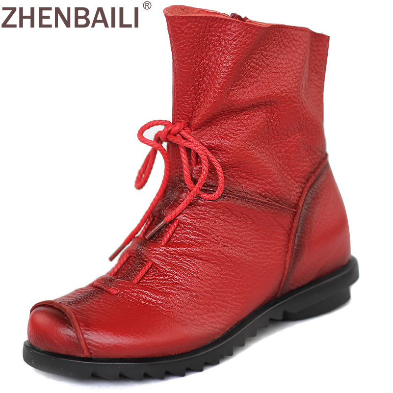 Quality Genuine Leather Shoes 2017 Spring Autumn Fashion Ankle Boots Warm Women Boots Soft Casual Flat
