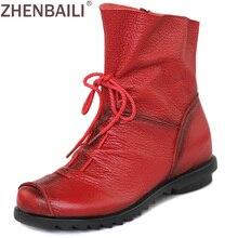 Качество Настоящая кожа Обувь 2017 Демисезонный Модные ботильоны теплые Для женщин Ботинки мягкие туфли на плоской подошве для повседневной носки плюс размер 42