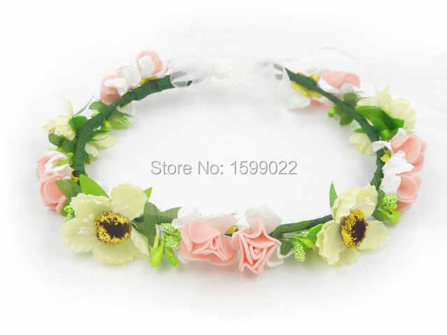 6ddec9febc1 ... Bohemia Handmade Cherry Blossom Flower Girl Flower Crown with Ribbon Bridal  Headpiece Wedding DIY Hair Accessories ...