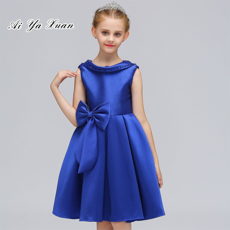New Blue Colors Backless O-Neck Dress for Kids Girl Big Bowknot Beeding Formal Solid Princess Ball Gown Girls Party Dress 4pcs new for ball uff bes m18mg noc80b s04g