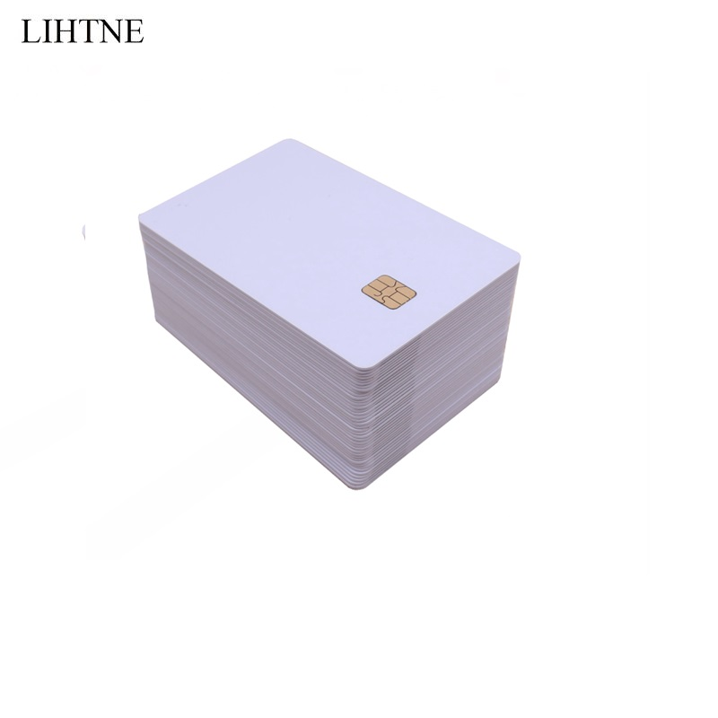 100PCS/lot Contact IC Card With SLE 4442 Chip With Hico Magnetic Stripe 2 in 1 Blank PVC IC Cards 20pcs lot contact sle4428 chip gold card with magnetic stripe pvc blank smart card purchase card 1k memory free shipping