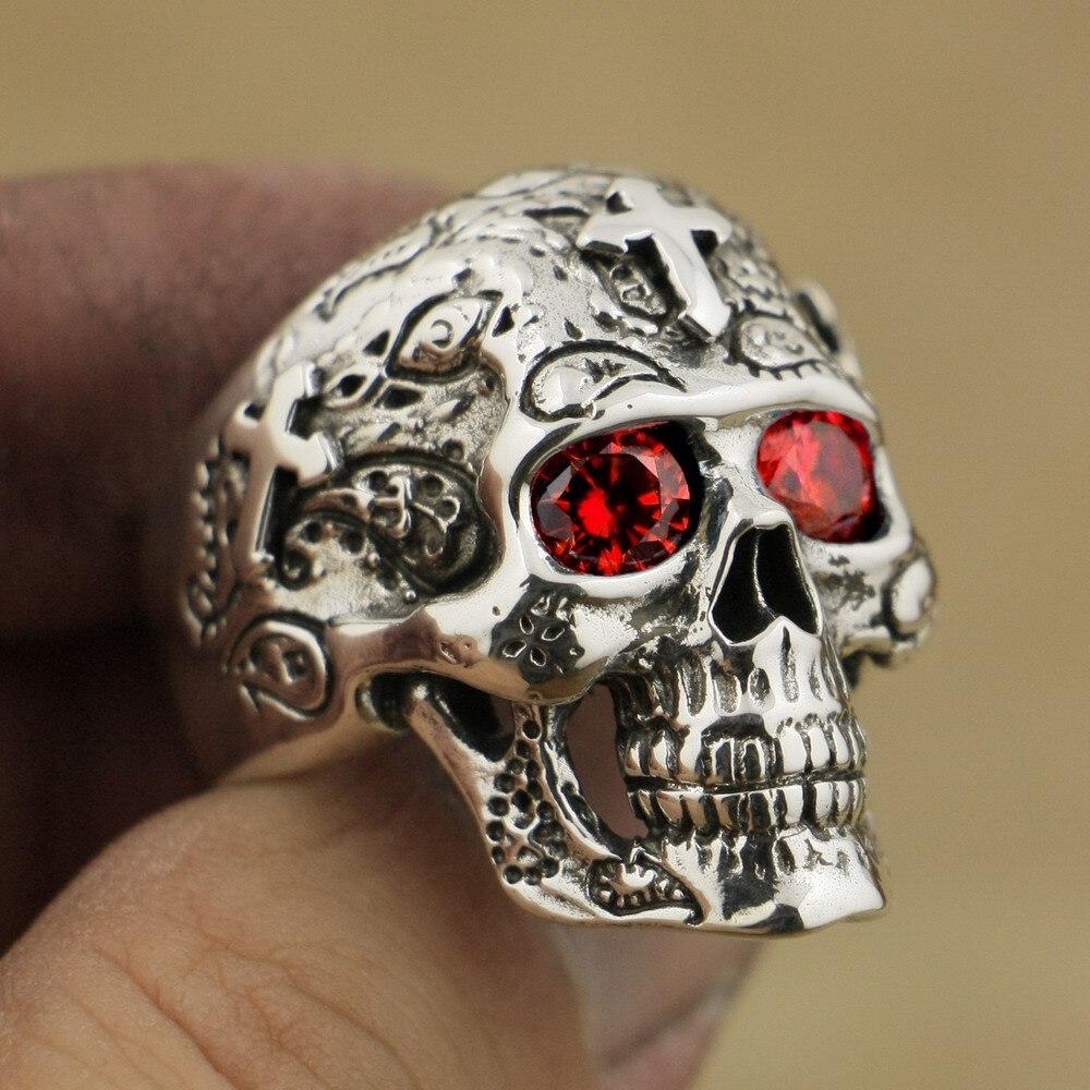Здесь можно купить  925 Sterling Silver High Detail Skull Cross Red CZ Eyes Mens Biker Ring TA58A     Ювелирные изделия и часы