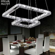 Светодиодный Кристалл люстры 2 квадратных кольца светодиодный