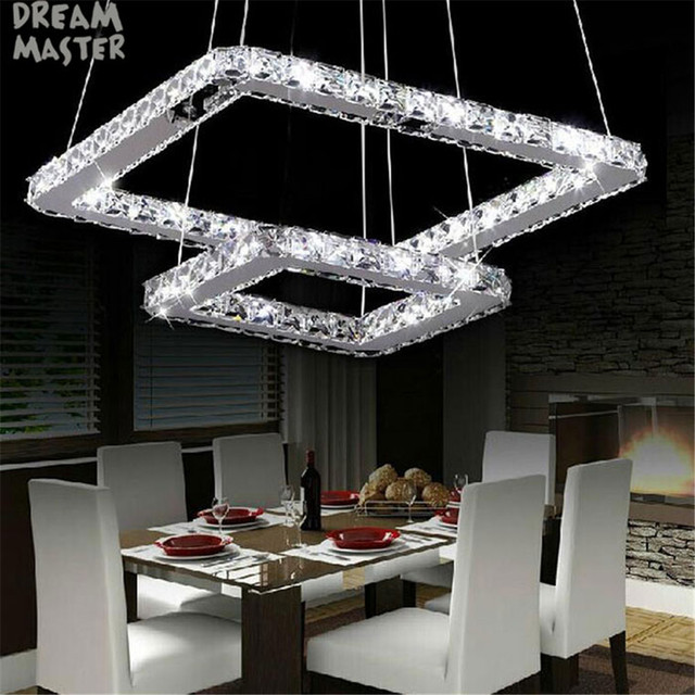 Candelabros LED Crsytal, 2 anillos cuadrados, accesorio de luz Led, iluminación de cristal, luminaria de suspensión, lampadari in vetro