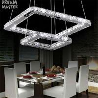 LED Crsytal chandeliers 2 Square rings Led Light Fixture Crystal Lighting Lustre suspension luminaire lampadari in vetro