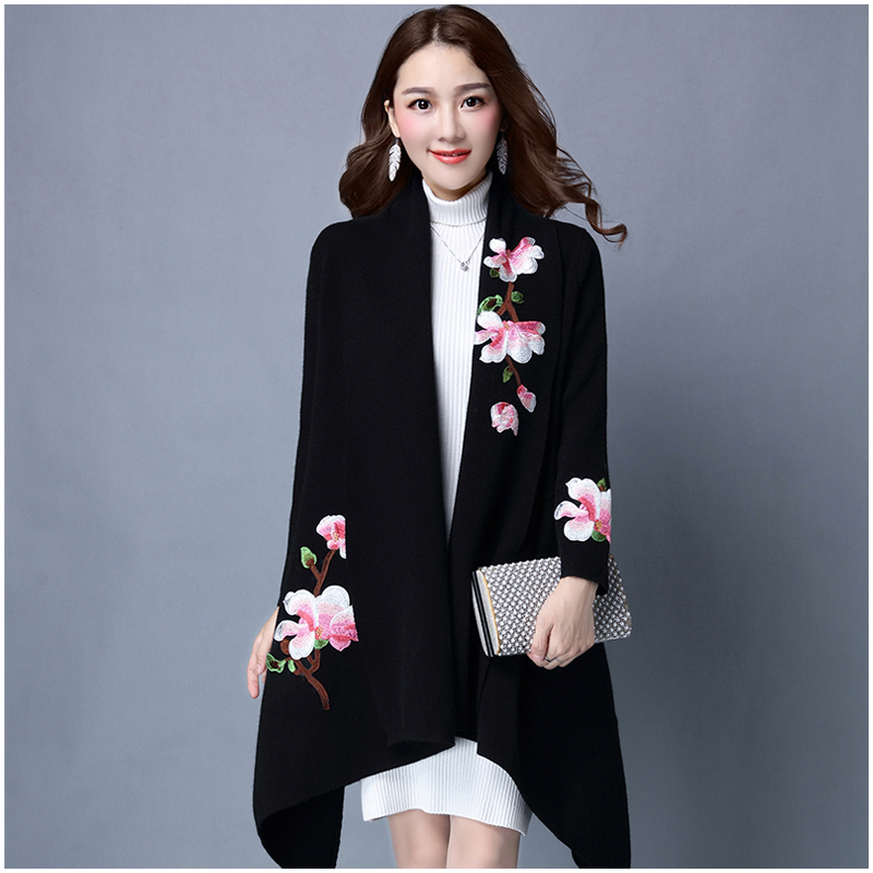 Элегантный свитер плащ пальто для женщин Цветочная вышивка кимоно Осень Зима длинное женское пальто длинный рукав Тренч пальто верхняя одежда