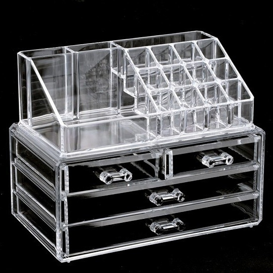 Clear Makeup Case 4 Drawer 16 Grid Cosmetic Organizer Jewelry Storage Acrylic Box