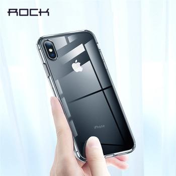 Caja de la roca para el iPhone Xr caso, caso suave para el iPhone Xs XsMax Crystal Clear teléfono contraportada