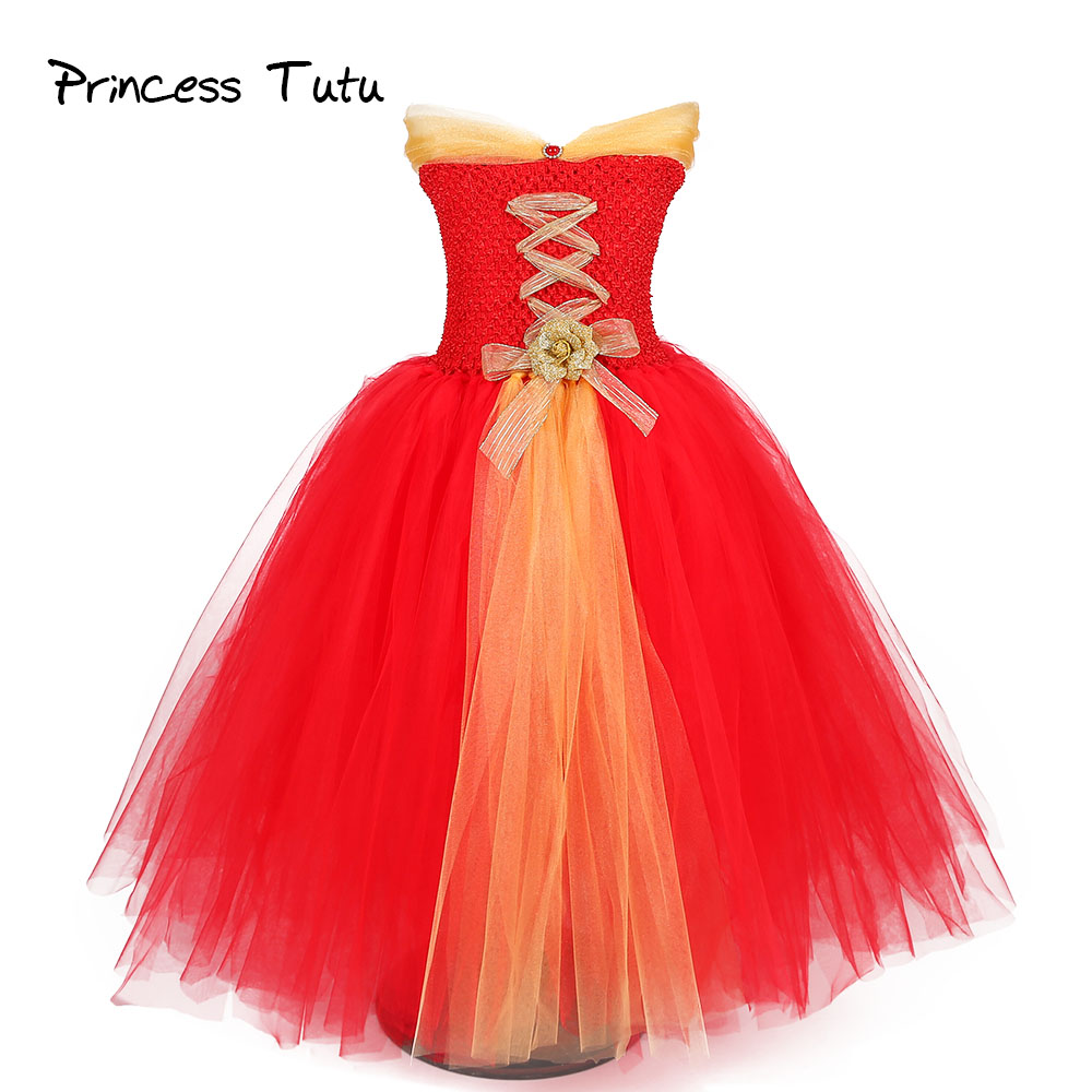 Red Christmas Girl Tutu Dress Ankle Length Gold Sash New Year Party Tulle Tutu Dresses Princess Birthday Costume For Kids Photos 2017 lovely toddler girl dress princess stripe tutu baptism child clothes 1 year birthday baby girls dresses for infant 2 year