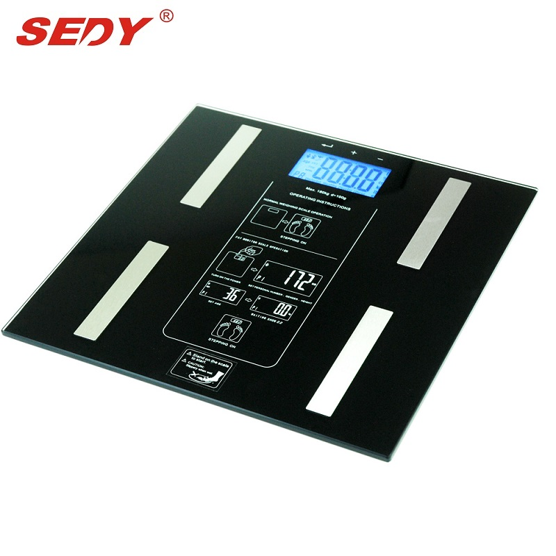 SEDY Digital Body Fat Scale Bathroom Scales Weight Gym Glass Water LCD Electronic