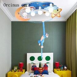 Cartoon kreatywność małpa lampa sufitowa chłopiec sypialnia dzieci światło do pokoju nowoczesne proste LED ochrona oczu księżyc lampa sufitowa