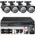 DEFEWAY HD 1080N 4 Canais Sistema de CCTV DVR KIT De Vigilância Por Vídeo 4 PCS 1200TVL 4 CH Sistema de Câmera de Segurança Em Casa + 2000G HDD