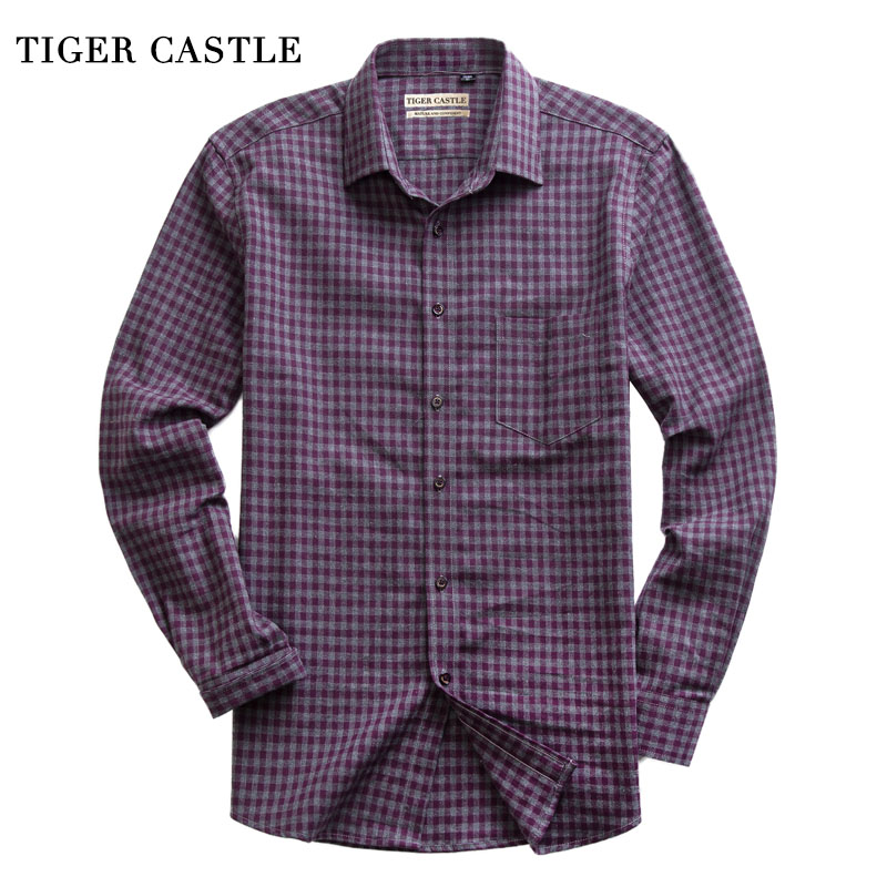 Casual 100% Cotton Mens Brushed Shirt Business Long Sleeve High Quality Men Clothes Designer Slim Fit Plaid Male Social Shirts