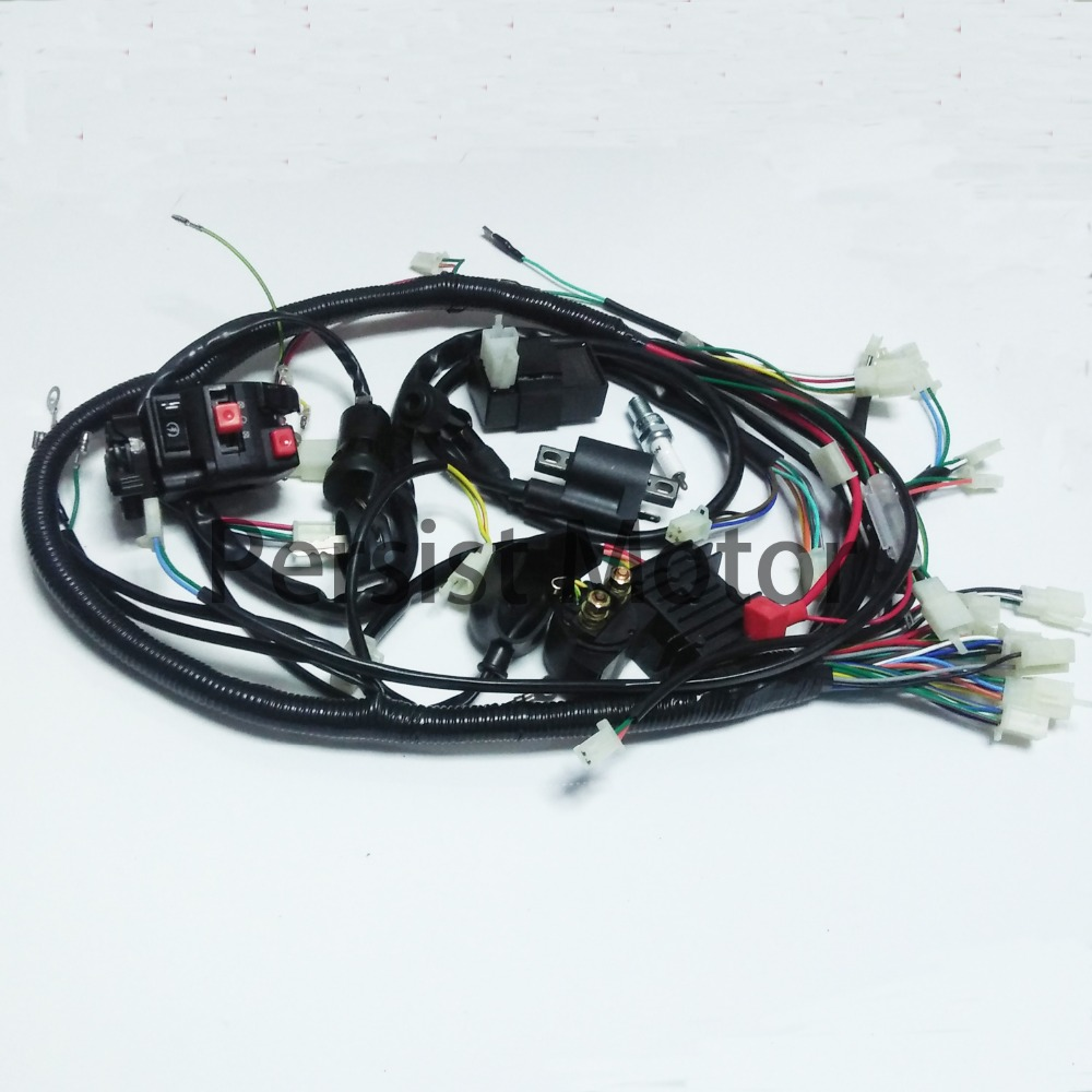 Free Shipping Full Electric Start Engine Wiring Harness Loom For Electronic Throttle Ignition Coil Cdi D8ea 150cc 200cc 250cc 300cc Zongshen Lifan Atv
