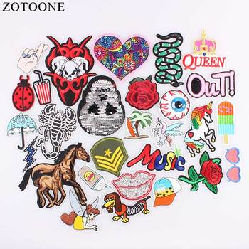 Fashion Design Fruit Pizza Unicorn Patch Iron On Cartoon Patches Cute Cheap Embroidered Patches For Clothes DIY Applique Badges image