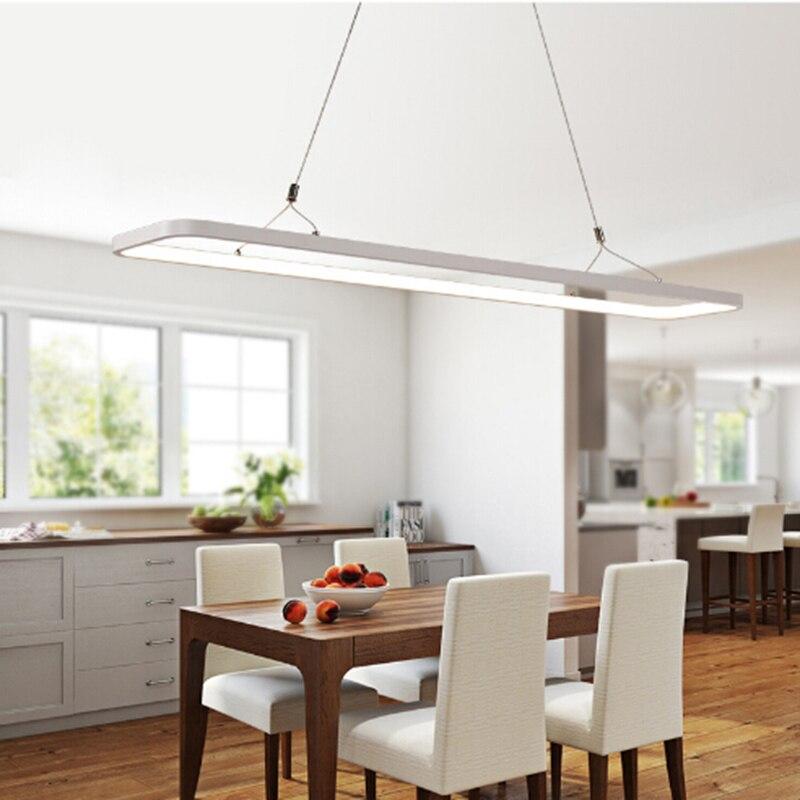 Minimalist Long LED Pendant Light Modern Rectangle Hanging