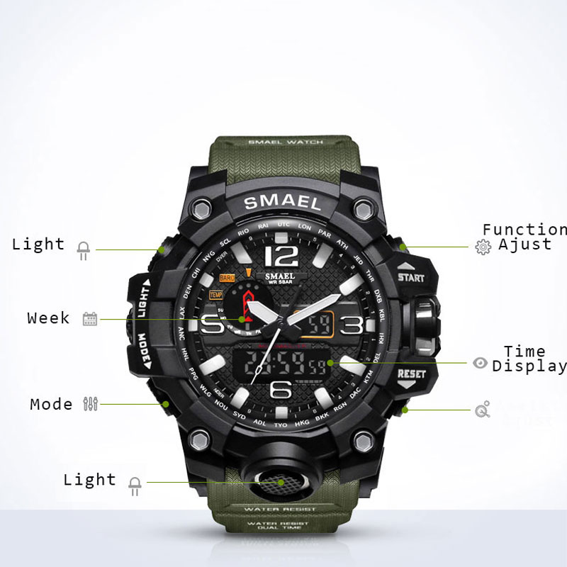 Aliexpress.com  Compre SMAEL Luxury Brand Mens Sports Watches LED Digital  Clock Fashion Casual Watch Digital 1545 relogio militar Clock Men Sport  Watch de ... b1a4deac83f27