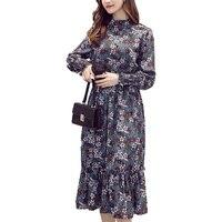 2017 Autumn Winter Korea Style Vintage Lantern Sleeve Print Dress Women Office Lady Stand Chiffon Print