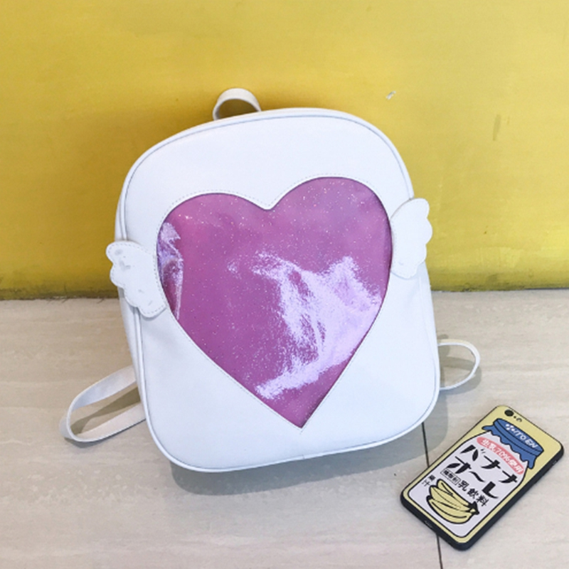 Angel Wings Backpack Women Love Heart Shape Ita Bag 2018 Fashion PU Leather Mini Backpacks For Girls Travel School Backpack cute love heart arrow angel bracelet for women