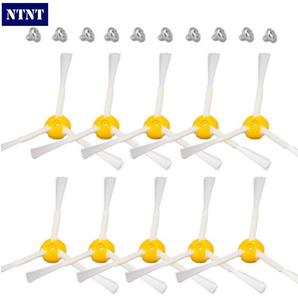 NTNT 10 pcs Side Brush 3-armed+ 10 Screws for iRobot Roomba 500 600 700 Vacuum Cleaners 510 530 532 550 560 620 625 760 770 780
