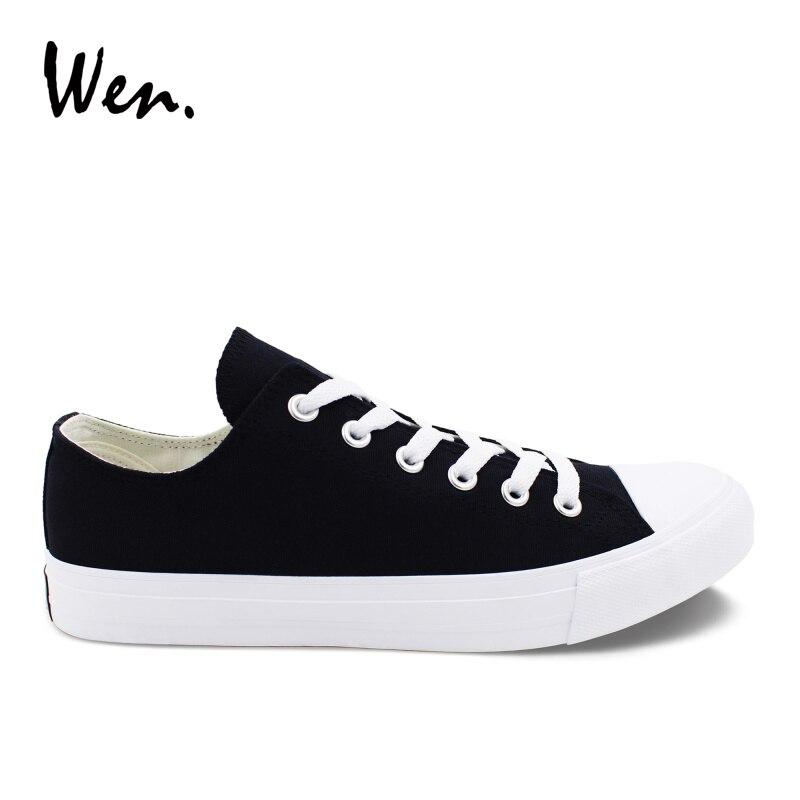 f7c40cca7f186e Wen Low Top Black White Casual Shoes Flat Canvas Shoes Unisex Sneakers Eur  Size 35-49 Plus Size 46 47 48 Plimsolls Rubber Sole