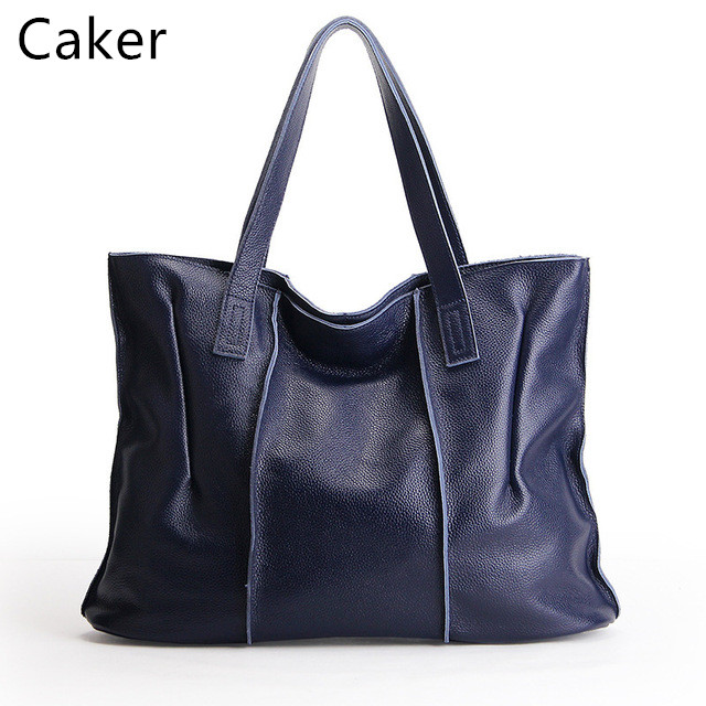 Caker 2017 Women Large Casual Totes Genuine Leather Bags Lady Ruched Handbags Female Black Blue Tops