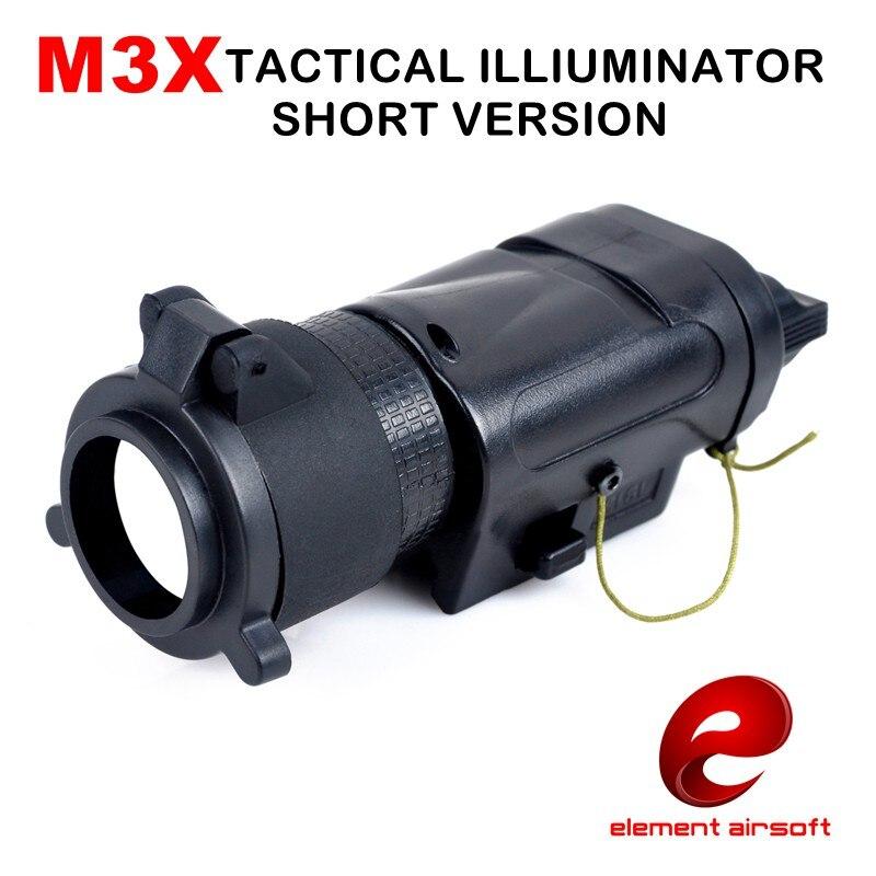 elemento ex185 m3x l 3 iluminador lanterna tatica airsoft caca luz arma versao curta