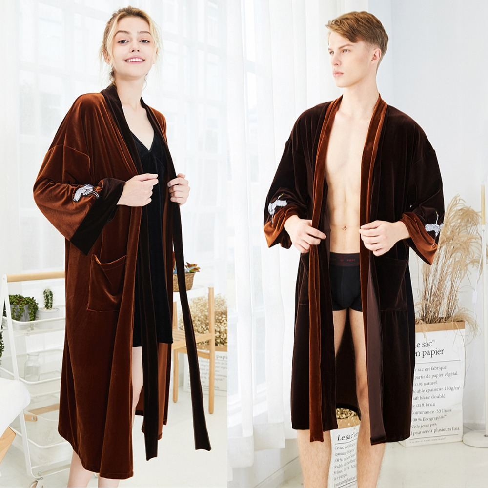 Sleepwear Dress Pajamas Hot Sale Women&Men Coral Fleece Robe Gown Lovers Winter Thick Nightgown Bathrobe Couple Warm Lounge