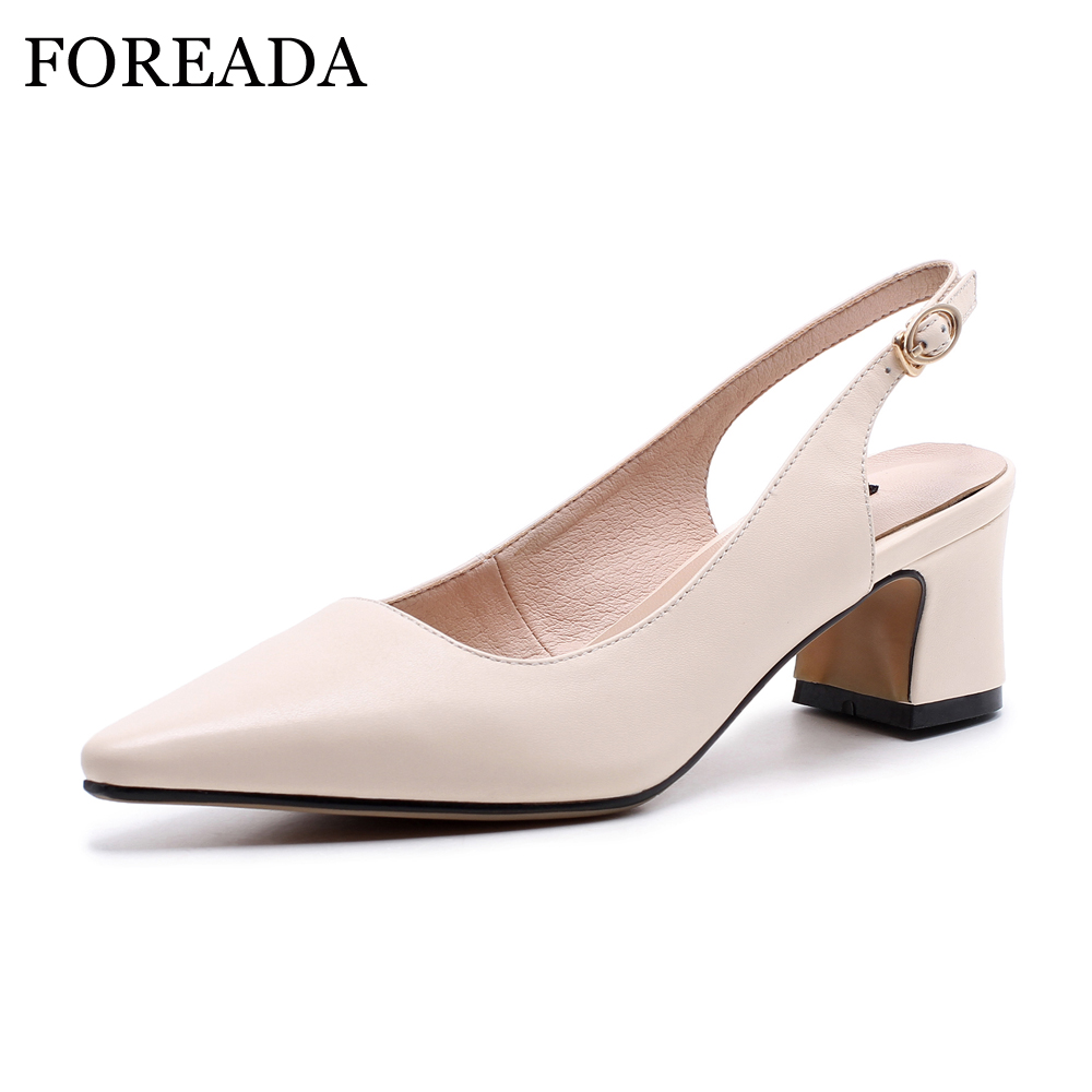 FOREADA Genuine Leather Shoes Women Thick High Heels Slingbacks Pumps Shoes Spring Office Ladies Shoes Pointed Toe Buckle Pumps krazing pot shallow fashion brand shoes genuine leather slip on pointed toe preppy office lady thick high heels women pumps l18