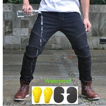 2019 imperméable coupe-vent moto équitation Jeans pantalon résistant à la pluie Anti-chute droite Motocross course pantalon pour hommes et femmes