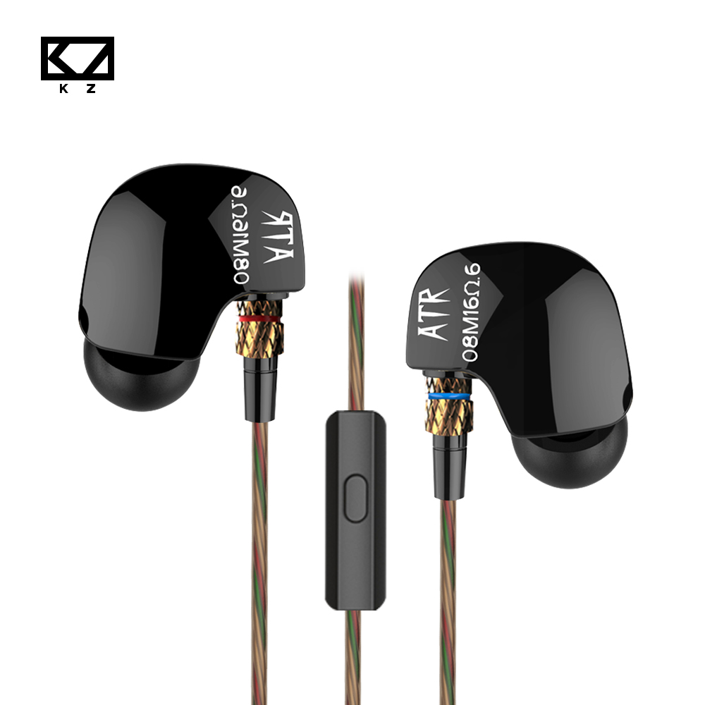 100% Original KZ ATR Copper Driver HiFi Music Headphones Heavy Bass In Ear Earphone With MIC Foam Eartips Headsets for PC Mp3 original senfer dt2 ie800 dynamic with 2ba hybrid drive in ear earphone ceramic hifi earphone earbuds with mmcx interface